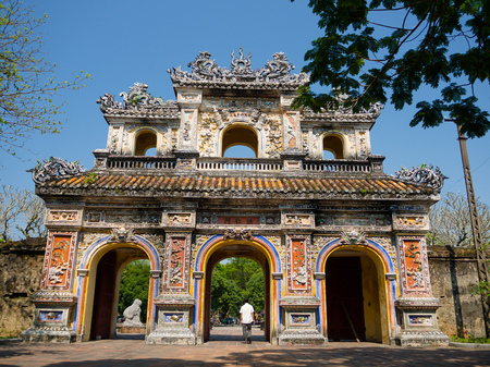 Hue, Vietnam - September 13 2017: Entrance of Citadel, Hue, Vietnam.