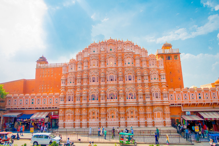 Agra, India - September 20, 2017: Hawa Mahal is a five-tier harem wing of the palace complex of the Maharaja of Jaipur, built of pink sandstone in the form of the crown of Krishna Editorial