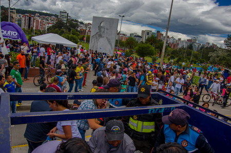 fema: Quito, Ecuador - April,17, 2016: Unidentified volunteers of Quito providing disaster relief food, clothes, medicine and water for earthquake survivors in the coast