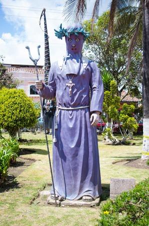 Quito, Ecuador - 28 APRIL, 2015 Stoned sculpture of cucurucho, located in the valley of Los Chillos.
