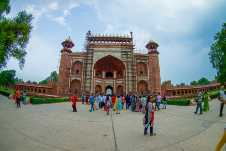 Agra, India - September 20, 2017: Unidentified people at the Great gate, Darwaza-i rauza, main entrance to the tomb, UNESCO World Heritage Site, Agra, Uttar Pradesh, India. Editorial