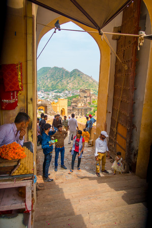 Amber, India - September 19, 2017: Unidentified people walking in a market place in Amber Fort India. Amber Fort is the main tourist attraction in the Jaipur area Editorial