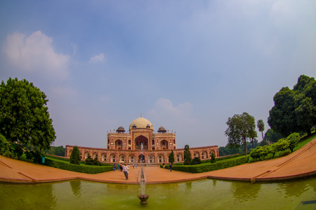 DELHI, INDIA - SEPTEMBER 19, 2017: Beautiful view of Humayun s Tomb, with an artificial pond in front in Delhi, India.