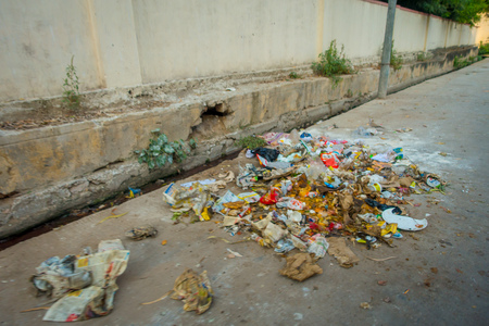 Garbage on the streets on Jaipur, India. India is a very dirty country