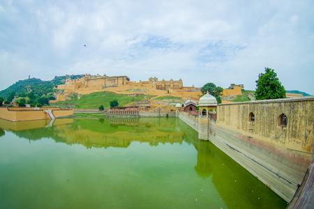 Maota Lake and Amber Fort in Jaipur, Rajasthan, India