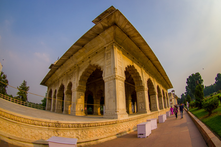 DELHI, INDIA - SEPTEMBER 25 2017: Unidentified people walking around Inlaid marble, columns and arches, Hall of Private Audience or Diwan I Khas at the Lal Qila or Red Fort in Delhi, India, fish eye effect Editorial
