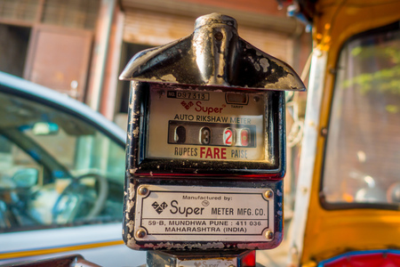 Jaipur, India - September 20, 2017: Old and rusty auto rikshaw not working meter