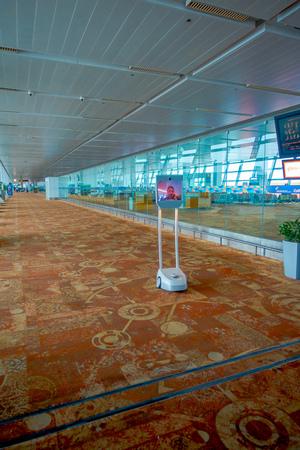 DELHI, INDIA - SEPTEMBER 19, 2017: Indoor view of robot customer service attending inside of the International Airport of Delhi