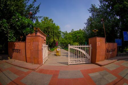 DELHI, INDIA - SEPTEMBER 25 2017: Gorgeous enter to the park where is located the Rajghat, New Delhi as memorial at Mahatma Gandhis body cremation place, in Delhi India, eye fish effect