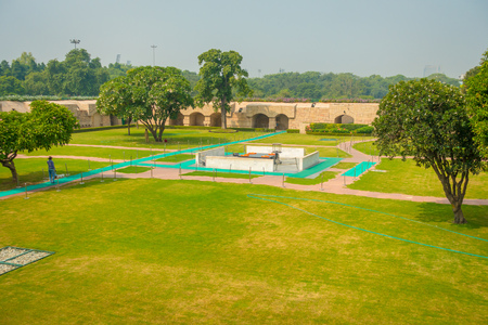 DELHI, INDIA - SEPTEMBER 25 2017: Aerial view of the park where is located the Rajghat, New Delhi as memorial at Mahatma Gandhis body cremation place, with grave in Delhi India, in a beautiful sunny day Editorial