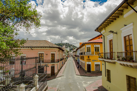 QUITO, ECUADOR - SEPTEMBER 10, 2017: Beautiful view of colonial houses located in the city of Quito