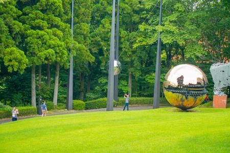 HAKONE, JAPAN - JULY 02, 2017: The Hakone Open-Air Museum or Hakone Chokoku No Mori Bijutsukan is popular museum featuring an outdoor sculpture park, huge metallic sfera at outdoor at Hakone, Japan Editorial