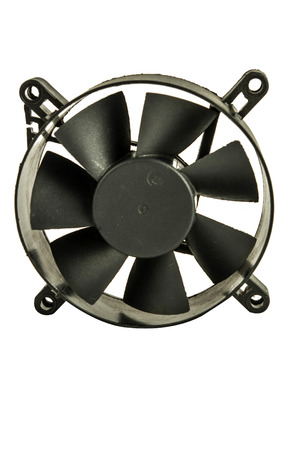 Close up of a black plastic exhaust fan, in a white background