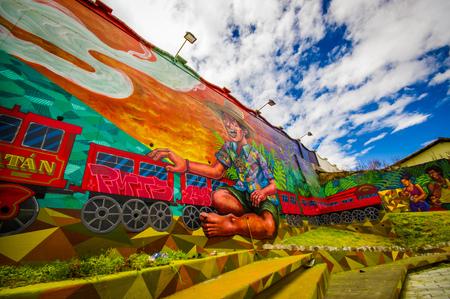 QUITO, ÉQUATEUR 20 AOÛT 2017: Belle rue graffiti sur un mur dans le centre de Quito, en Équateur