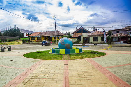 CAYAMBE, ECUADOR - SEPTEMBER 05, 2017: Equator Line Monument, marks the point through which the equator passes, Cayambe