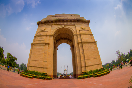 DELHI, INDIA - SEPTEMBER 19, 2017: A wide angle shot of the India Gate formerly known as the All India War Memorial at Rajpath, New Delhi