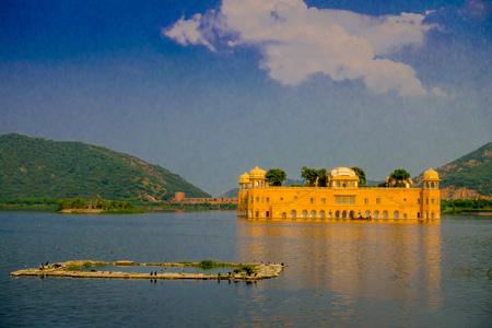 JAIPUR, INDIA - SEPTEMBER 20, 2017: Beautiful view of Jal Mahal Water Palace on Man Sagar Lake in Jaipur, Rajasthan, India