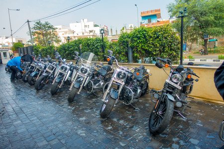 DELHI, INDIA - SEPTEMBER 19, 2017: Some motorcycle of Harley Davidson parked in the sreets of Delhi Royal Enfield Motorcycle, travelling in Delhi Editorial
