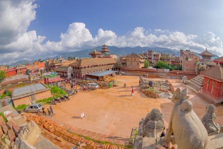 no entrance: BHAKTAPUR, NEPAL - NOVEMBER 04, 2017: Aerial view f stone guardians in the Nyatapola temple on Taumadhi Tole, BHAKTAPUR, NEPAL