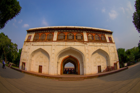 DELHI, INDIA - SEPTEMBER 25 2017: View of the Sawan or Bhadon Pavilion in Hayat Baksh Bagh of Red Fort at Delhi. Decorated with white marble, depicting Mughal artwork, fish eye effect