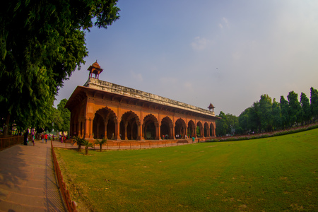 DELHI, INDIA - SEPTEMBER 25 2017: Tourist walking inside of the Beautiful Red Fort of New Delhi, India built by the mughal empire, fish eye effect