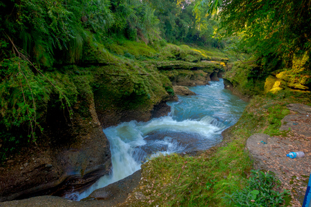 Water flows downstream to Devis Falls in Pokhara, Nepal