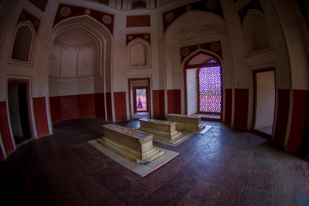 DELHI, INDIA - SEPTEMBER 19, 2017: Indoor view of the Humayun s Tomb, Delhi, India.Heritage Site, it is the tomb of the Mughal Emperor Humayun, fish eye effect Sajtókép