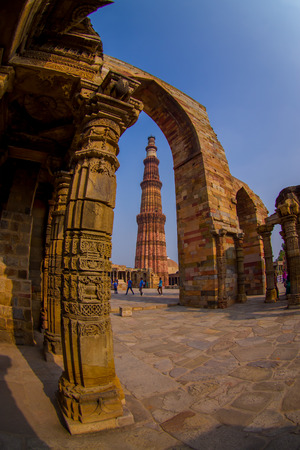 DELHI, INDIA - SEPTEMBER 25 2017: Detail of Qutub Minar, the tallest free-standing stone tower in the world, and the tallest minaret in India, constructed with red sandstone and marble in 1199 AD. Editorial
