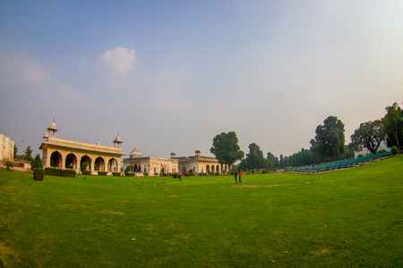 DELHI, INDIA - SEPTEMBER 25 2017: Gorgeous outdoor view of the Sawan or Bhadon Pavilion in Hayat Baksh Bagh of Red Fort at Delhi. Decorated with white marble, depicting Mughal artwork, this building looks stunning, fish eye effect