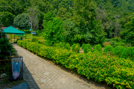 POKHARA, NEPAL OCTOBER 10, 2017: Beautiful garden in the enter of bat cave with a stoned path in Pokhara, Nepal. Editorial