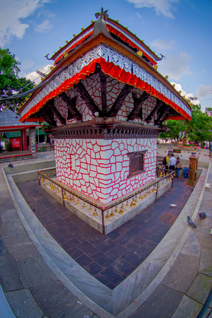 phewa: POKHARA, NEPAL - SEPTEMBER 04, 2017: Tal Barahi Temple, located at the center of Phewa Lake, is the most important religious monument of Pokhara, fish eye effect. Editorial