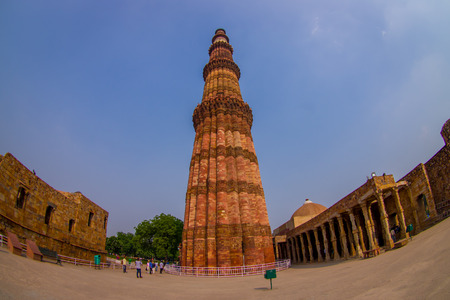 DELHI, INDIA - JULY 20, 2015: Qutub Minar, one of UNESCO world heritag site, built in the early 13th century located on south of Delhi, India Editorial