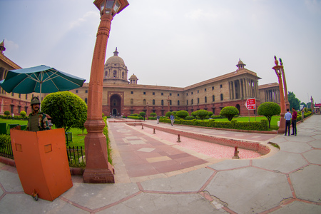 Jaipur, India - September 26, 2017: Minister of Defense Rashtrapati Bhavan is the official home of the President of India, fish eye effect