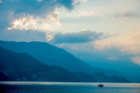 phewa: Beautiful landscape of the lake located in Pokhara city, Nepal