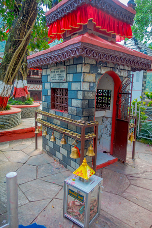 phewa: POKHARA, NEPAL - SEPTEMBER 04, 2017: Close up of Tal Barahi Temple, located at the center of Phewa Lake, is the most important religious monument of Pokhara Editorial