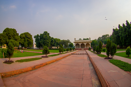 DELHI, INDIA - SEPTEMBER 25 2017: Outdoor view of the Sawan or Bhadon Pavilion in Hayat Baksh Bagh of Red Fort at Delhi, fish eye effect