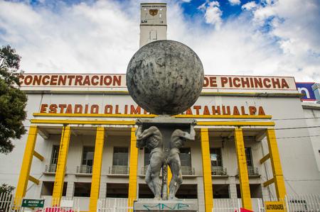 QUITO, ECUADOR - OCTOBER 11, 2017: Beautiful view of Atahualpa stadium at background in Quito, the capital of Ecuador, South America Editorial