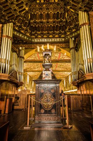 QUITO, ECUADOR - OCTOBER 23, 2017: Interior view of the Church and Convent of Saint Francis in Quito, Ecuador Editorial