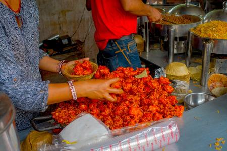 third world: POKHARA, NEPAL OCTOBER 10, 2017: Unidentified people inside of a restaurant, in Pokhara Nepal