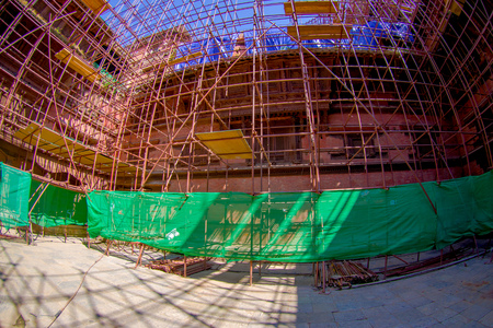 KATHMANDU, NEPAL OCTOBER 15, 2017: Beautiful view of some buildings in reconstruction after the earthquake in 2015 of Durbar square in Kathmandu, capital of Nepal, fish eye effect.