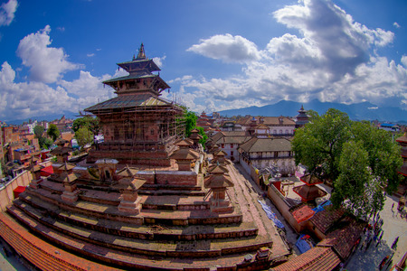KATHMANDU, NEPAL OCTOBER 15, 2017: Aerial view of Durbar Square near the old Indian temples in Katmandu, fish eye effect.