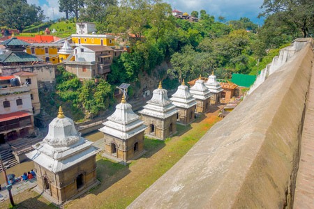 KATHMANDU, NEPAL OCTOBER 15, 2017: Aerial view of temple complex-crematory Pashupatinath. Churches chapels dedicated to Vishnu