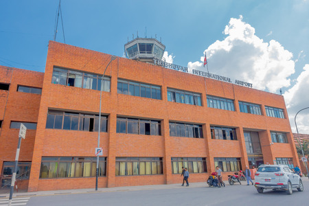 Kathmandu, Nepal - October 25th, 2016: Big building of Tribhuvan International Airport in a beautiful blue sky in Kathmandu Nepal. Only exist one international airport in Nepal