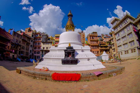 monastic: KATHMANDU, NEPAL OCTOBER 15, 2017: Evening view of Bodhnath stupa - Kathmandu - Nepal, fish eye effect Editorial