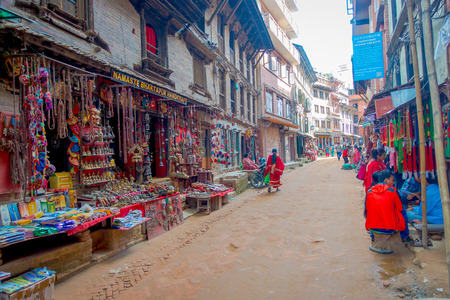 BHAKTAPUR, NEPAL - NOVEMBER 04, 2017: Beautiful handicrafts at shop at Durbar Square in Bhaktapur, Kathmandu valley Editorial