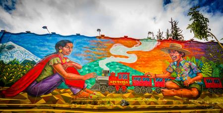 QUITO, ECUADOR AUGUST 20 2017: Street graffiti on a wall in central Quito, Ecuador. 에디토리얼