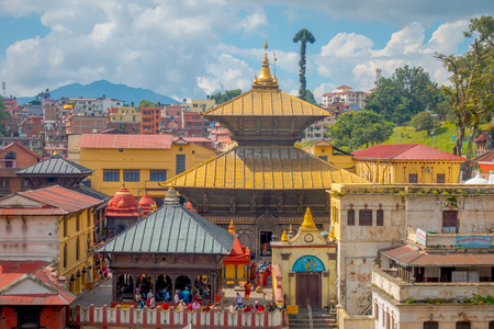 KATHMANDU, NEPAL OCTOBER 15, 2017: Aerial view of golden temple complex-crematory Pashupatinath. Churches chapels dedicated to Vishnu