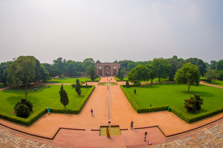 DELHI, INDIA - SEPTEMBER 19, 2017: Aerial view of Humayun s Tomb, Delhi, India.  it is the tomb of the Mughal Emperor Humayun, fish eye effect Stock fotó - 90729395