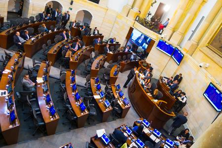 BOGOTA, COLOMBIA OCTOBER 22, 2017: Unidentified people in the senate meeting, in congress building in Bogota Editorial