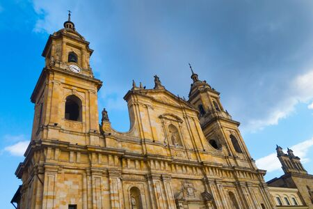 BOGOTA, COLOMBIA OCTOBER 22, 2017: Main square with church, Bolivar square in Bogota, Colombia, Latin America Editorial
